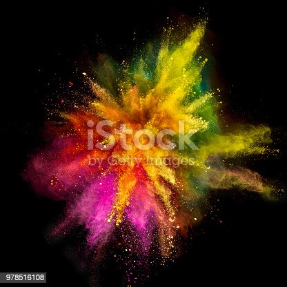 857348256istockphoto Colored powder explosion on black background 978516108