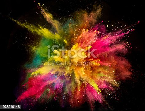 857348256istockphoto Colored powder explosion on black background 978516146