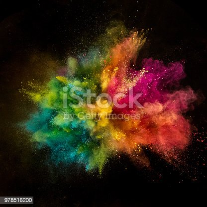857348256istockphoto Colored powder explosion on black background 978516200