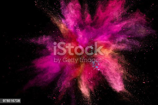 857348256istockphoto Colored powder explosion on black background 978516708