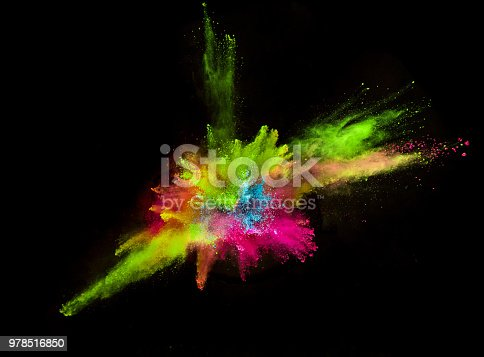 857348256istockphoto Colored powder explosion on black background 978516850