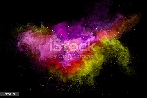 857348256istockphoto Colored powder explosion on black background 978516910