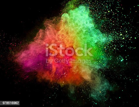 857348256istockphoto Colored powder explosion on black background 978516962