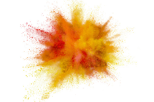istock Colored powder explosion on white background. Abstract closeup dust on backdrop. Colorful explode. Paint holi 1159605855