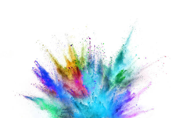 Colored powder explosion on white background Colored powder explosion on white background. Freeze motion. powder snow stock pictures, royalty-free photos & images