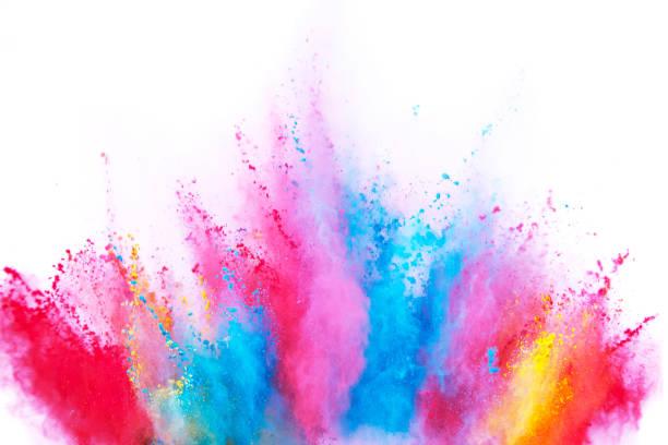 gekleurde poeder explosie op witte achtergrond. - gezichtspoeder stockfoto's en -beelden