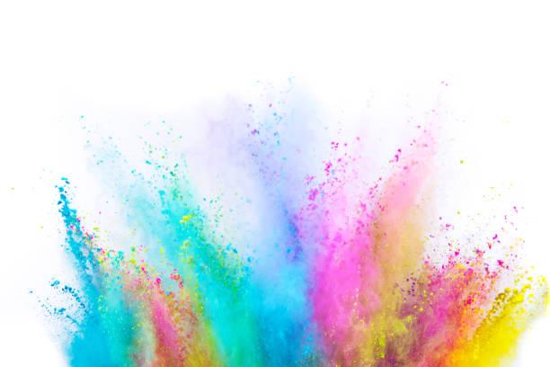 farbige pulverexplosion auf weißem hintergrund. - regenbogen make up stock-fotos und bilder