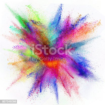 857348256istockphoto Colored powder explosion on white background 857349266