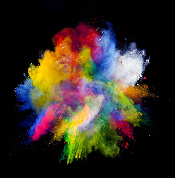colored powder on black background - abstract multicolored powder explosion stock photos and pictures