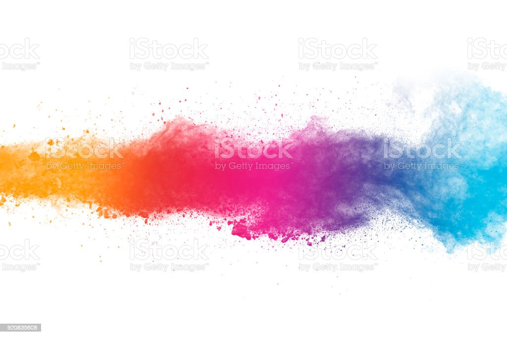 Colored powder splash cloud isolated on white background stock photo