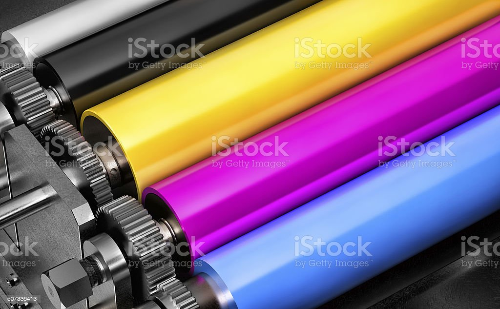colored printers rolls stock photo