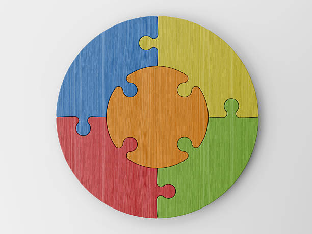 colored puzzle pieces - five objects stock pictures, royalty-free photos & images