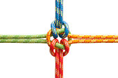 Colored ropes tied into a knot