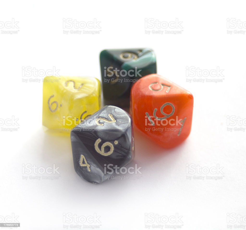 Colored RPG dices isolated on white stock photo