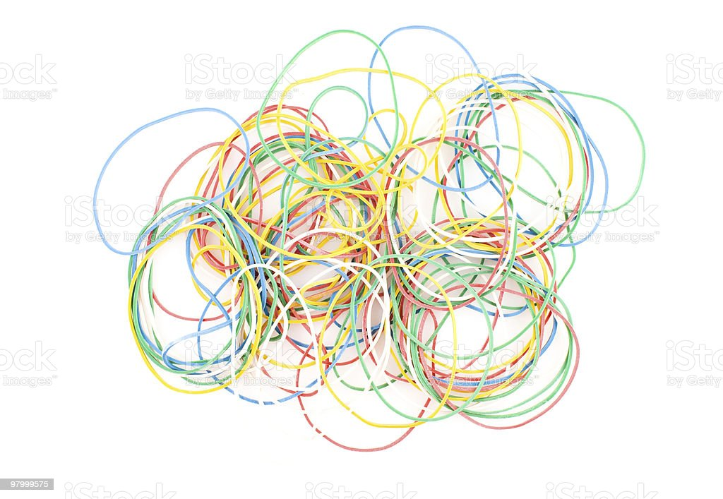 colored rubber rings on the white background royalty free stockfoto