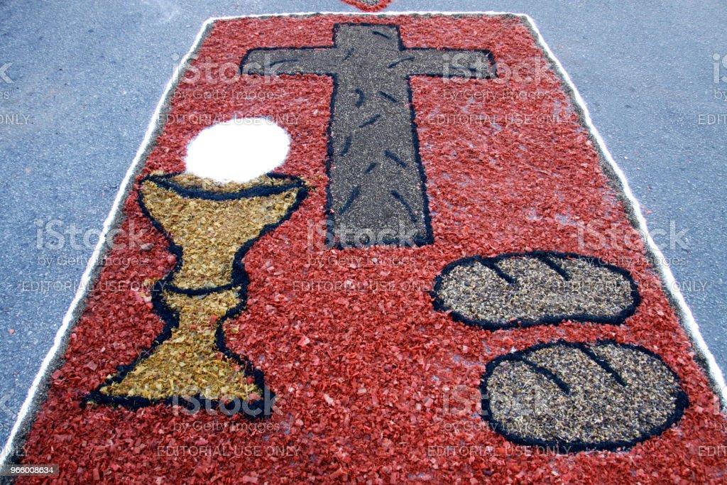 Colored rug by Catholic faithful for Corpus Christi procession - Royalty-free Arrangement Stock Photo