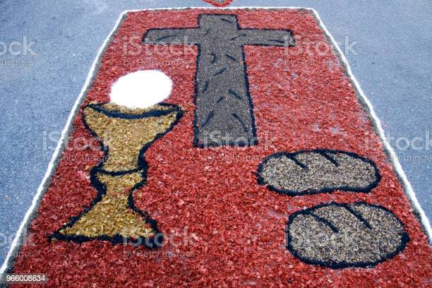 Colored Rug By Catholic Faithful For Corpus Christi Procession Stock Photo - Download Image Now