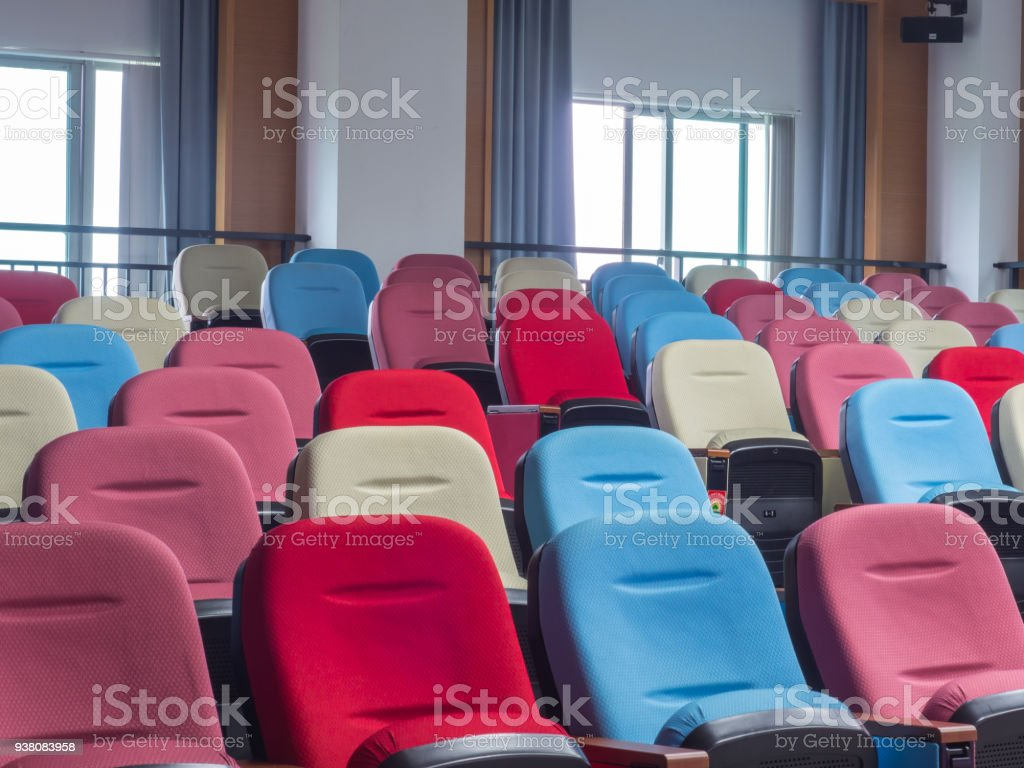 Colored seats in a classroom of the public library stock photo