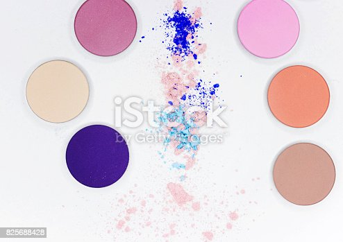 istock Colored shadow for professional make-up on white 825688428