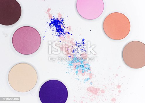 istock Colored shadow for professional make-up on white 825688456