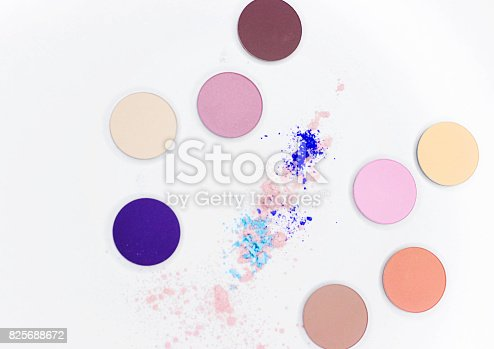 istock Colored shadow for professional make-up on white 825688672