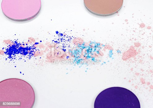 istock Colored shadow for professional make-up on white 825688698
