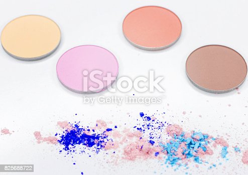 istock Colored shadow for professional make-up on white 825688722
