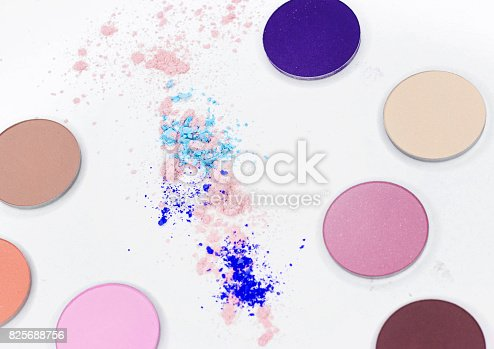 istock Colored shadow for professional make-up on white 825688756