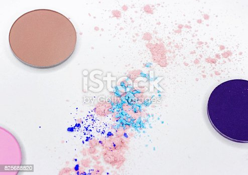 istock Colored shadow for professional make-up on white 825688820