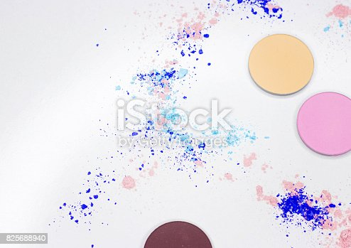 istock Colored shadow for professional make-up on white 825688940