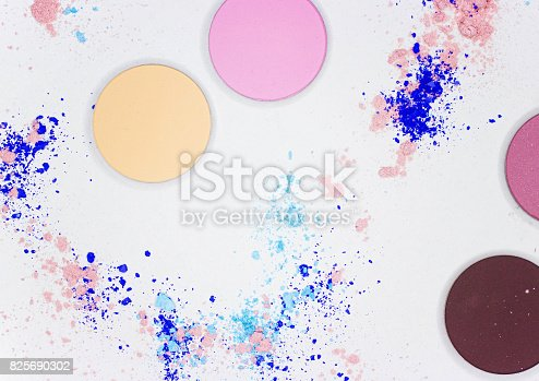 istock Colored shadow for professional make-up on white 825690302