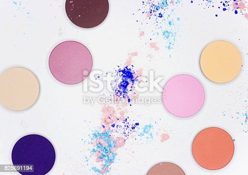 istock Colored shadow for professional make-up on white 825691194