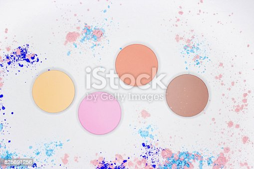 istock Colored shadow for professional make-up on white 825691256