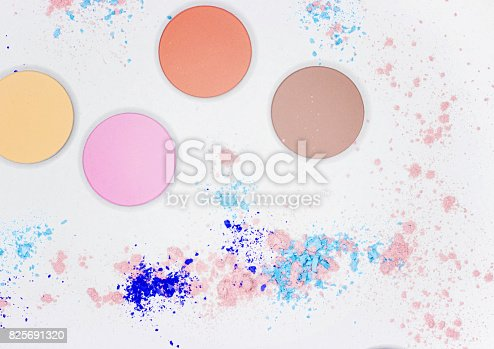 istock Colored shadow for professional make-up on white 825691320