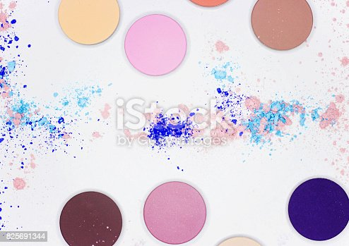 istock Colored shadow for professional make-up on white 825691344