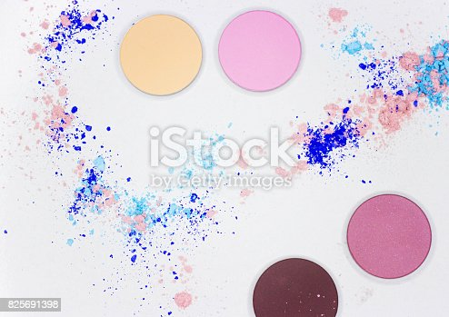 istock Colored shadow for professional make-up on white 825691398