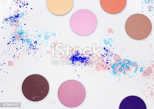 istock Colored shadow for professional make-up on white 825691422