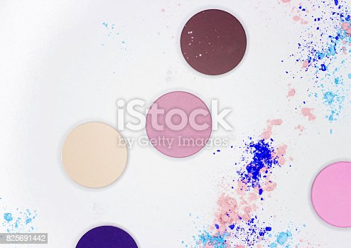 istock Colored shadow for professional make-up on white 825691442