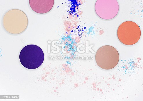istock Colored shadow for professional make-up on white 825691482