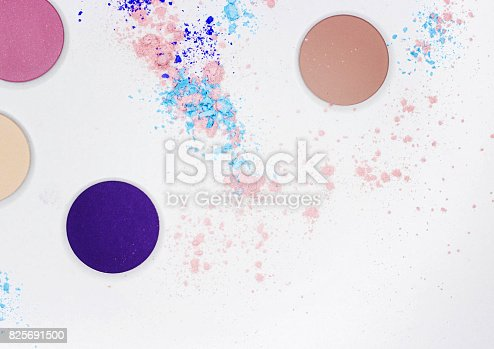 istock Colored shadow for professional make-up on white 825691500