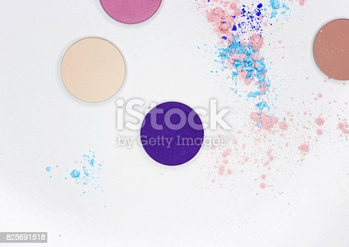 istock Colored shadow for professional make-up on white 825691518