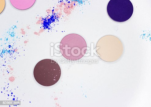 istock Colored shadow for professional make-up on white 825691846