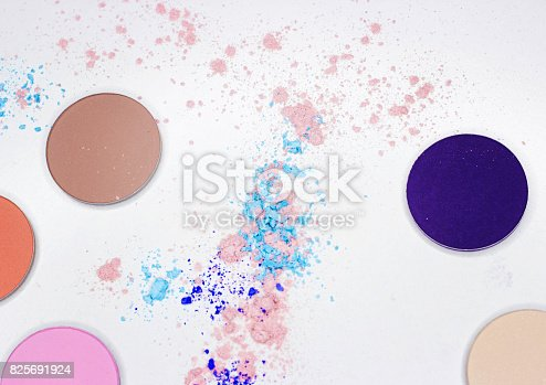 istock Colored shadow for professional make-up on white 825691924