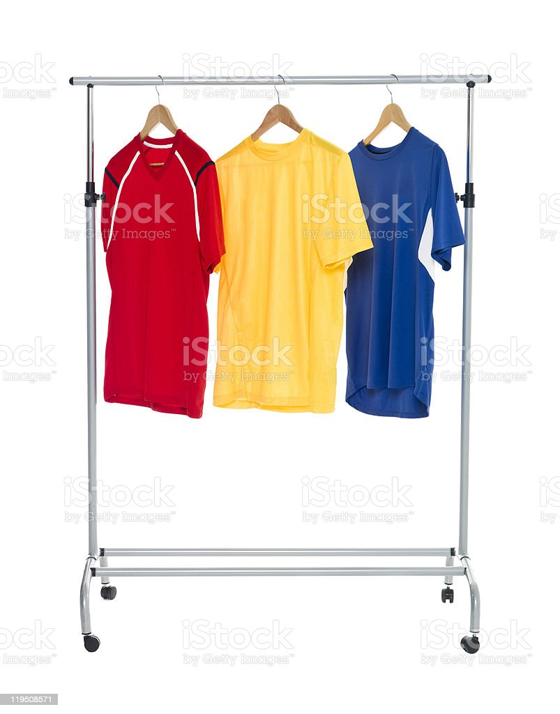 Colored Shirts on a Clothes Rack royalty-free stock photo