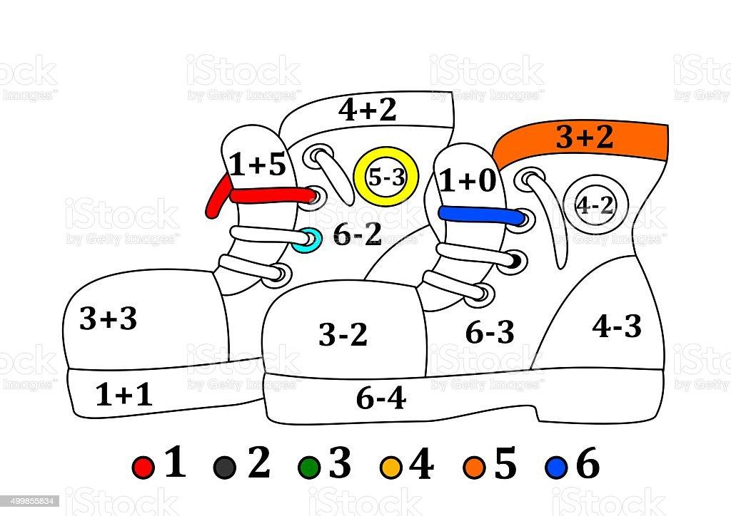 Scarpe Color A Partire Da Colorare Per I Bambini Fotografie Stock