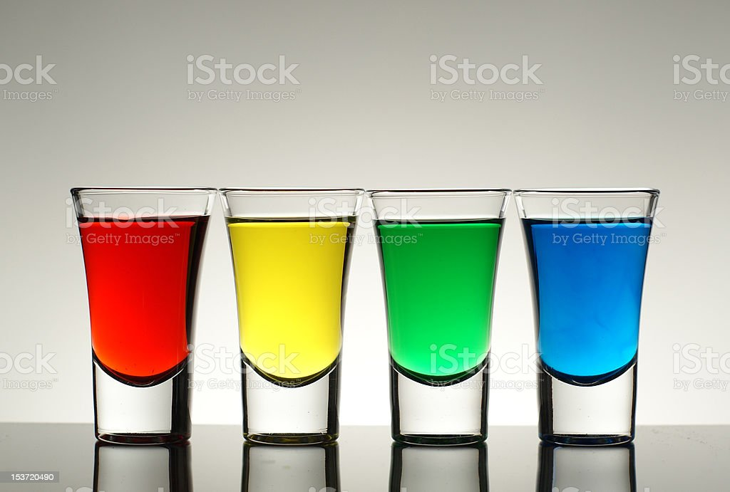Colored Shot Glasses royalty-free stock photo