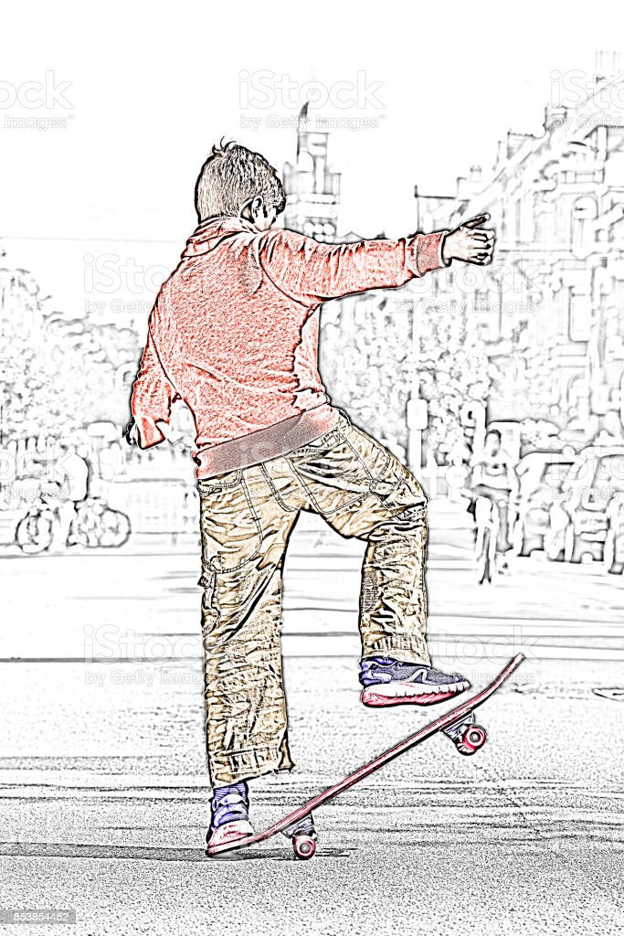 Colored sketch of a Young teenager boy practicing skateboard stock photo