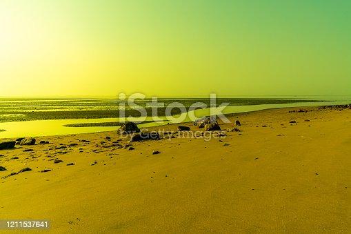 Colored sky and sea