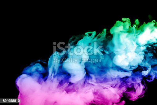 874895030 istock photo colored smoke isolated on a black background. fractal. spiral. 894958810