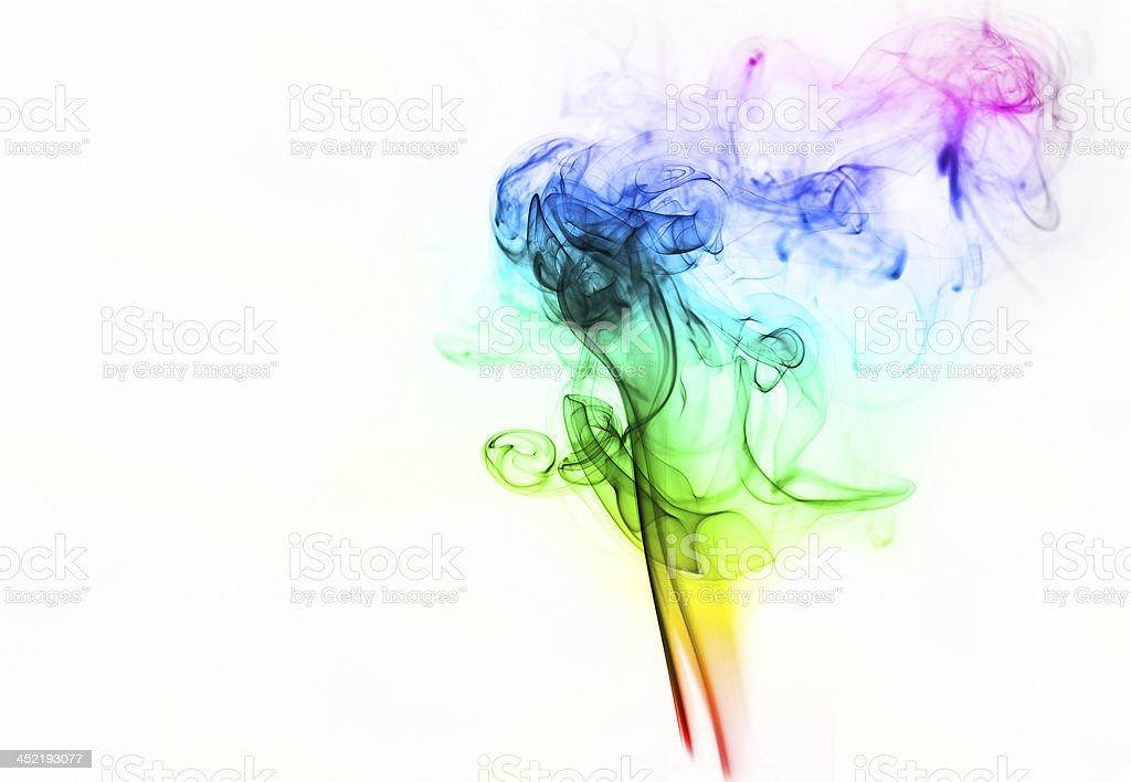 colored smoke isolated on white background stock photo